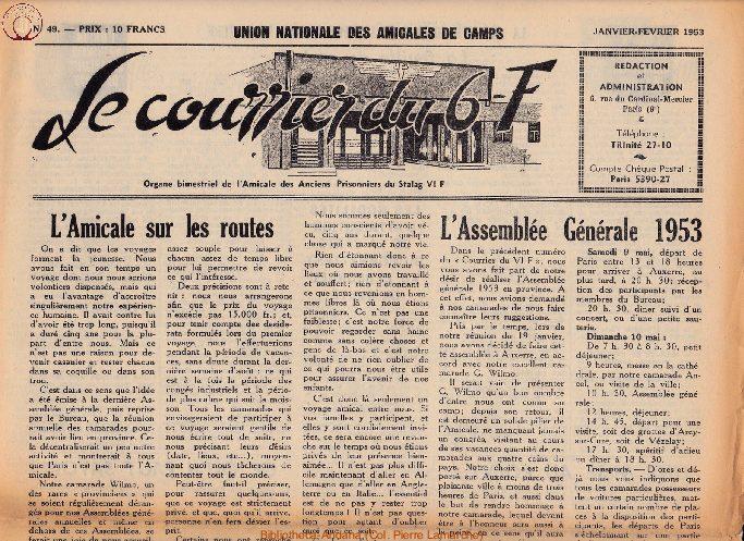 Le courrier du 6 F N°49 - janvier-février 1953