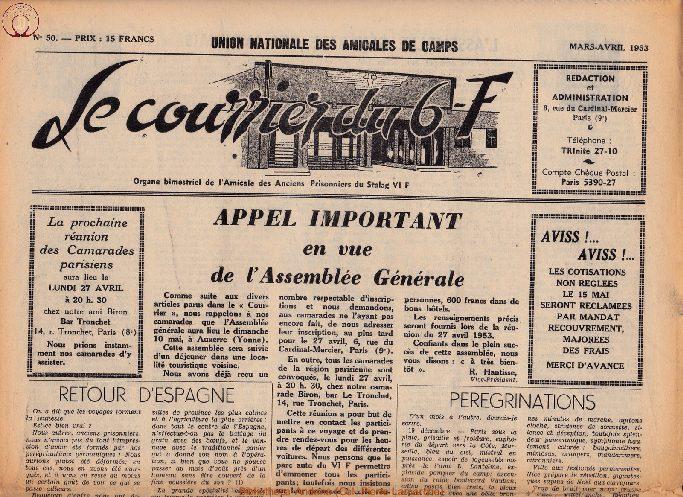 Le courrier du 6 F N°50 - mars-avril 1953