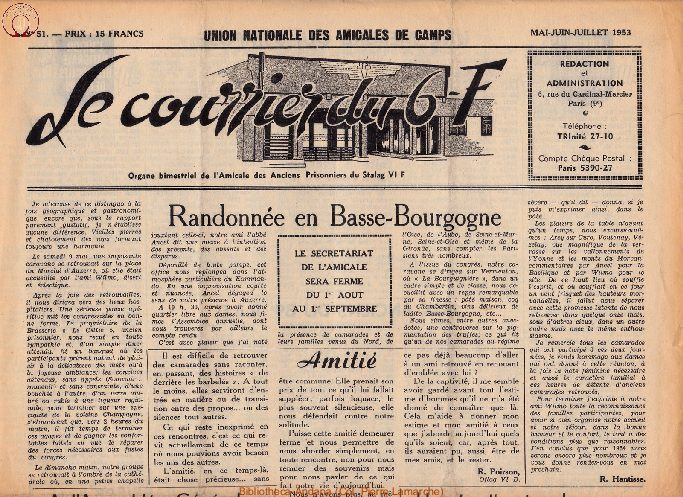 Le courrier du 6 F N°51 - mai-juin-juillet 1953