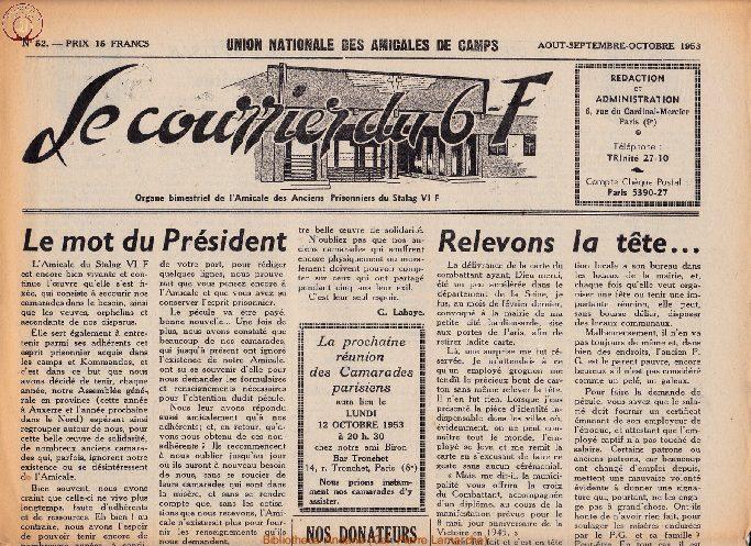 Le courrier du 6 F N°52 - août-septembre-octobre 1953