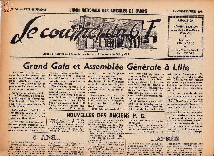 Le courrier du 6 F N°54 - janvier-février 1954
