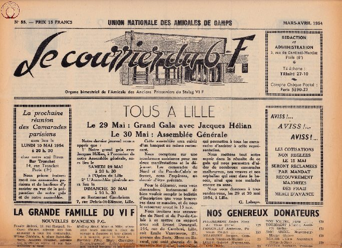 Le courrier du 6 F N°55 - mars-avril 1954