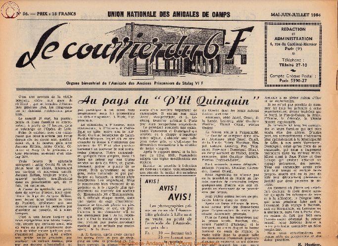 Le courrier du 6 F N°56 - mai-juin-juillet 1954