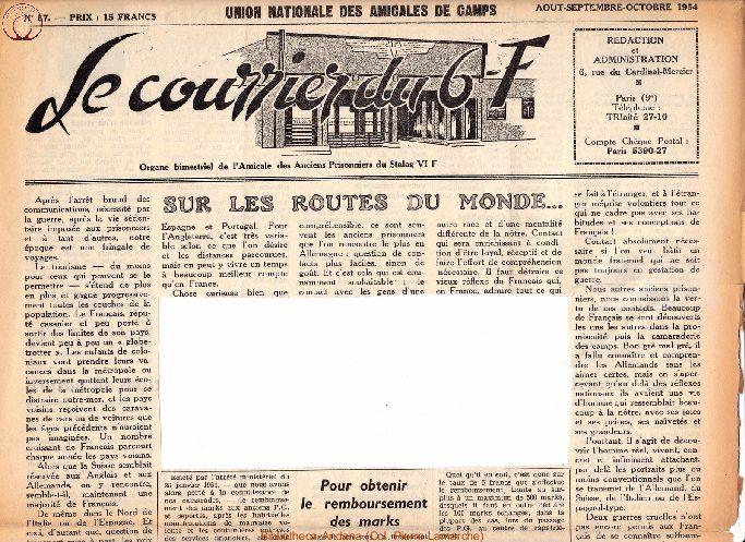 Le courrier du 6 F N°57 - août-septembre-octobre 1954