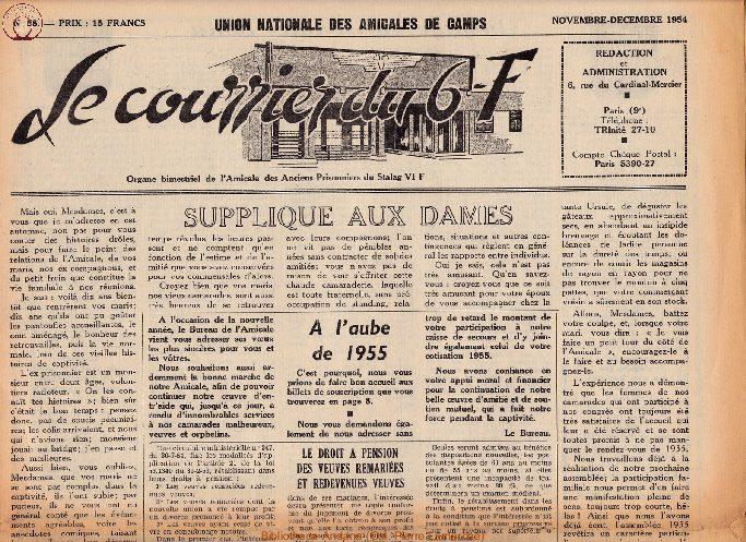 Le courrier du 6 F N°58 - novembre-décembre 1954