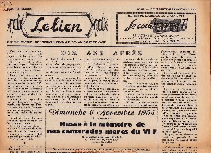 Le courrier du 6 F N°62 - août-septembre-octobre 1955