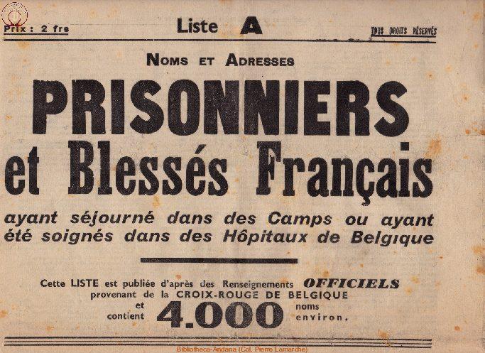Liste des prisonniers et blessés français ayant séjournés dans des Camps ou ayant été soignés dans des Hôpitaux en Belgique