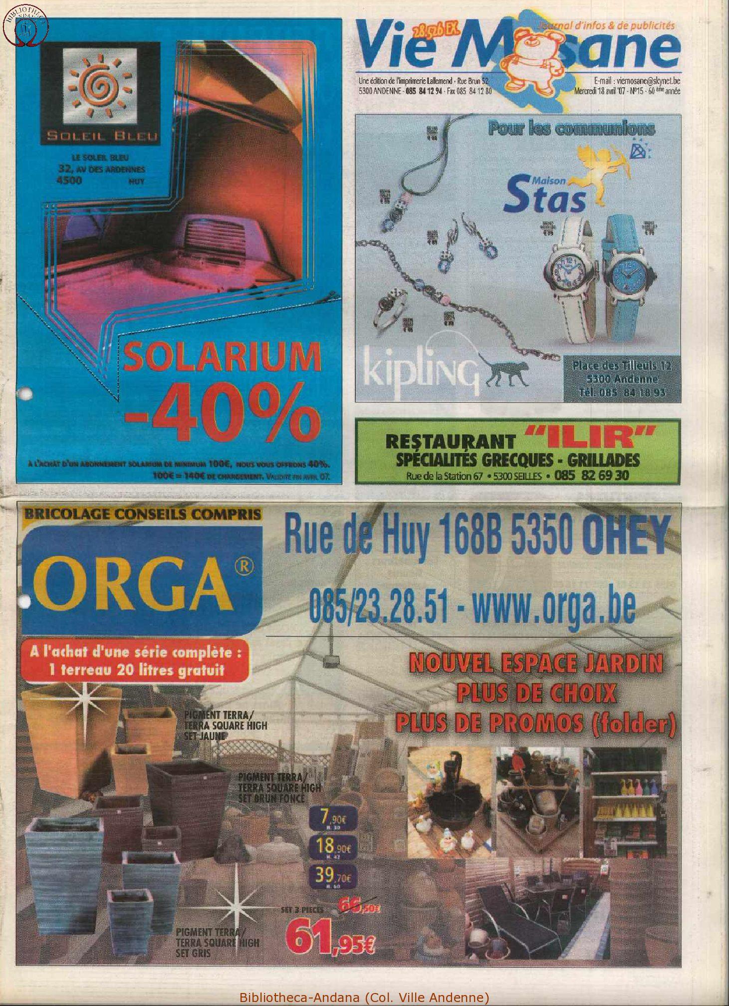60e année - n°15 - 18 avril 2007