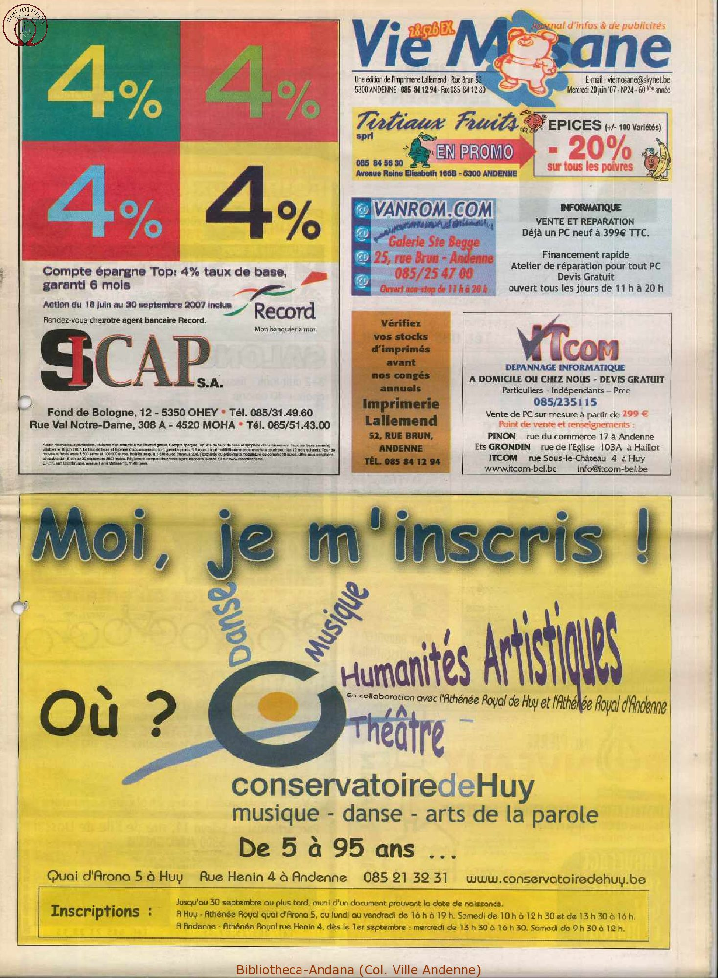 60e année - n°24 - 20 juin 2007