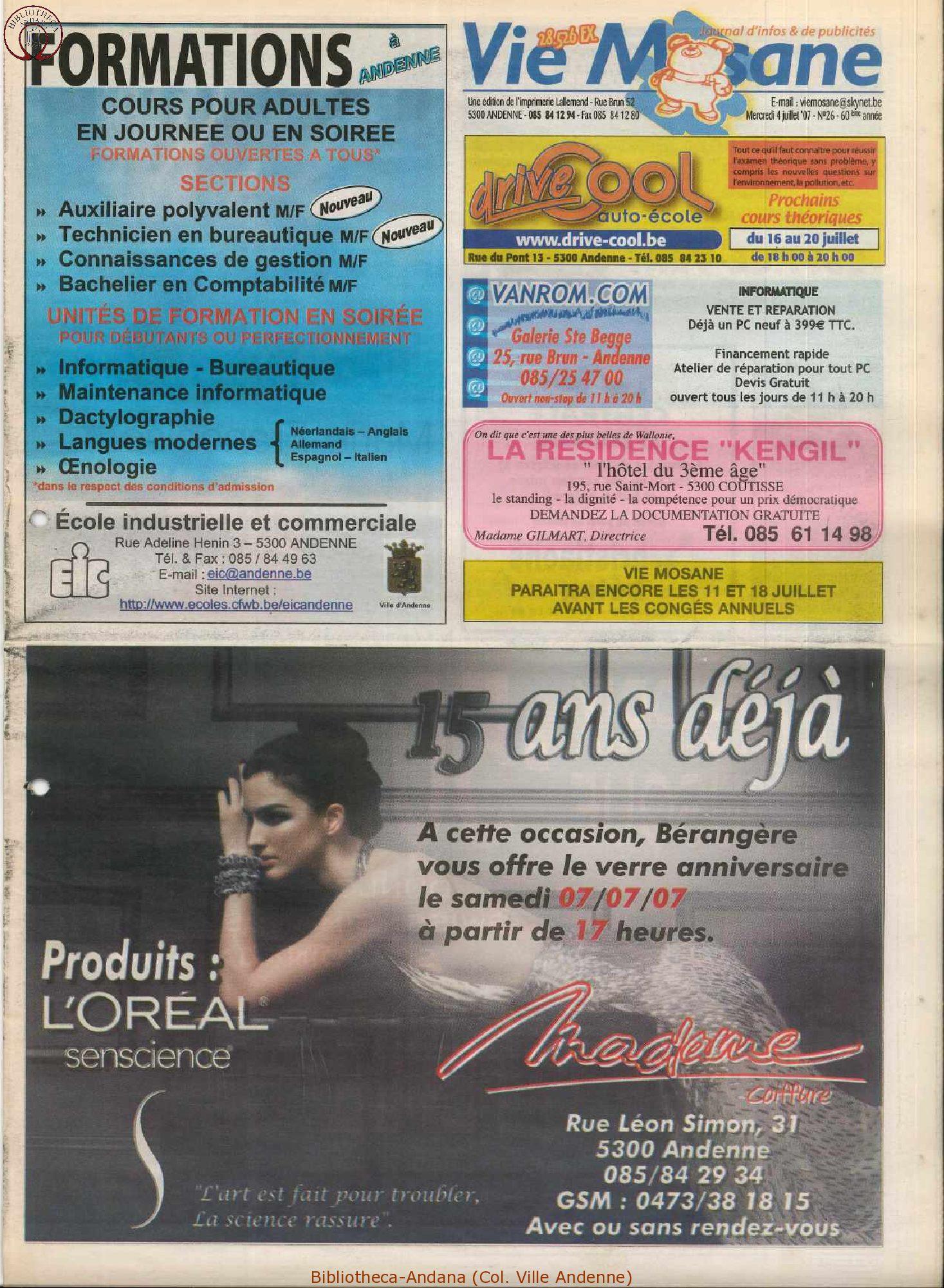 60e année - n°26 - 4 juillet 2007