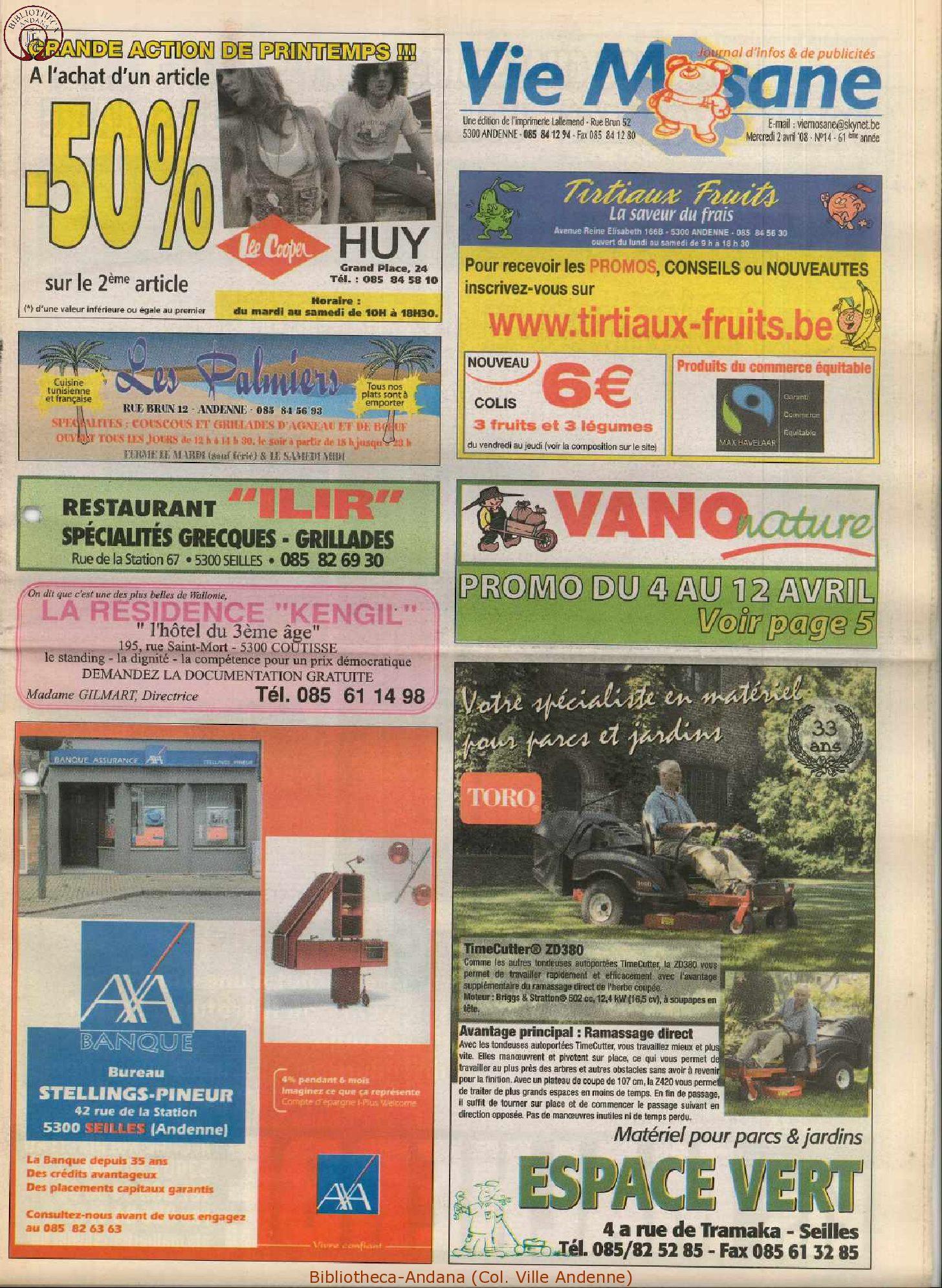 61e année - n°14 - 2 avril 2008