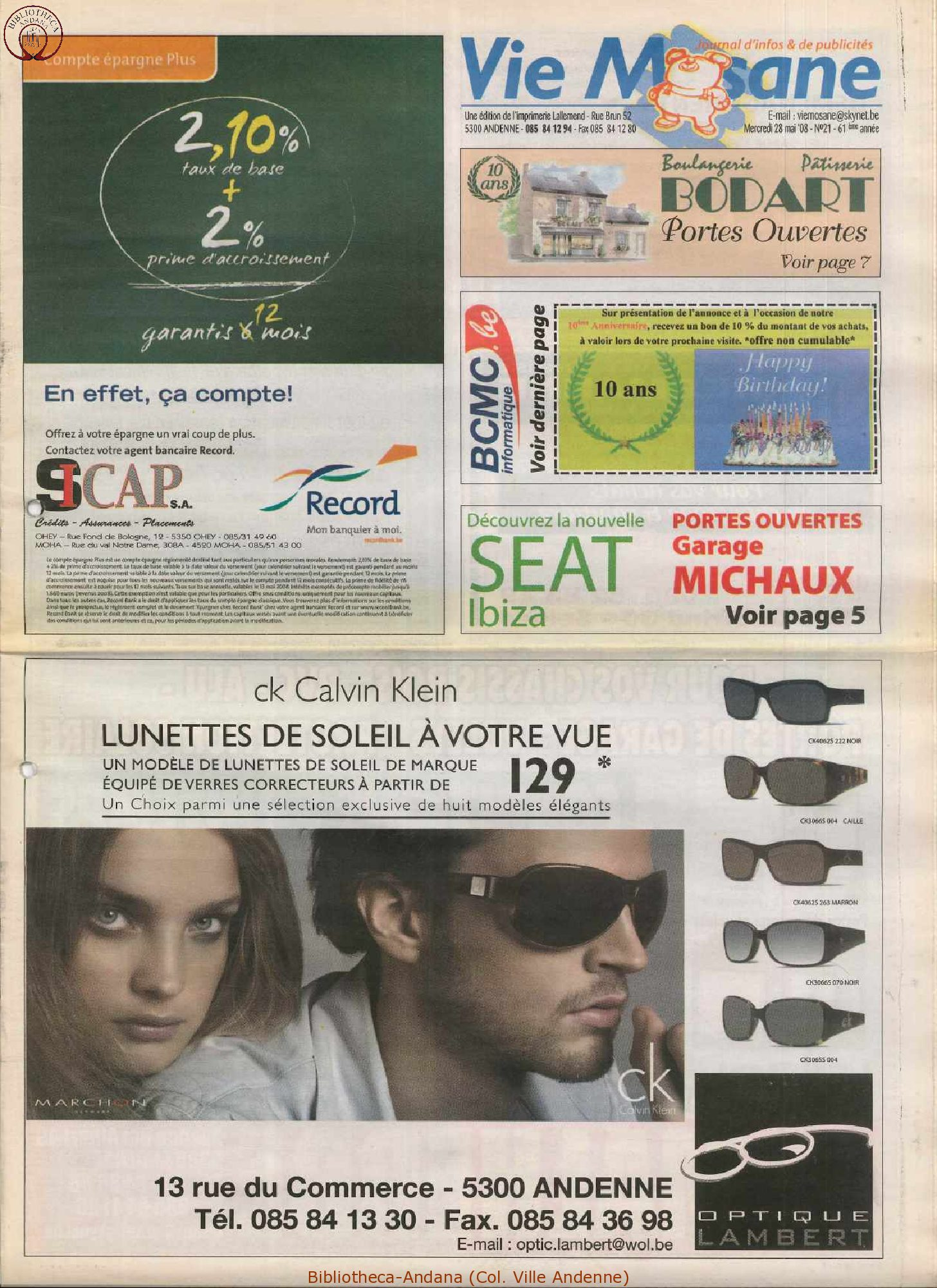 61e année - n°21 - 28 mai 2008