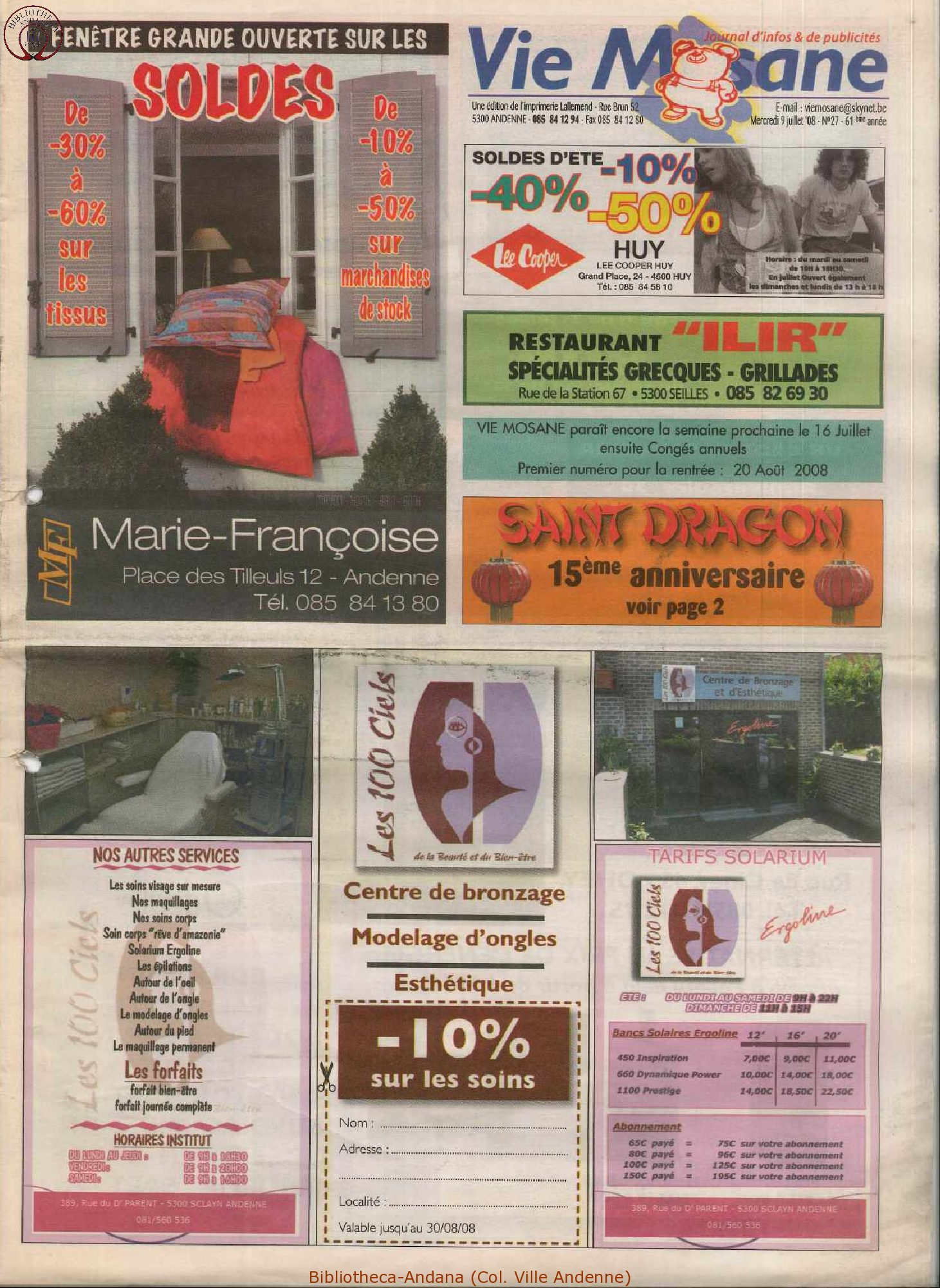61e année - n°27 - 9 juillet 2008