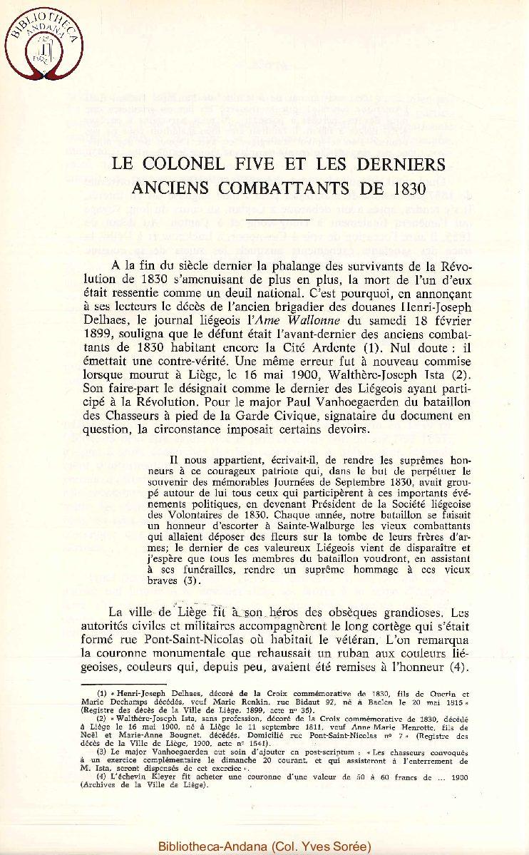 Le colonel Fivé et les derniers Anciens Combattants de 1830