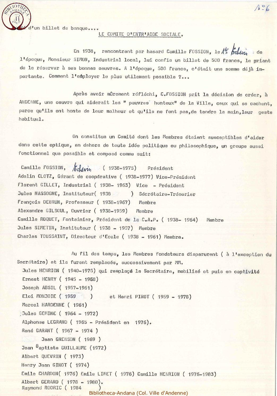 Historique du Comité d'Entr'aide Sociale