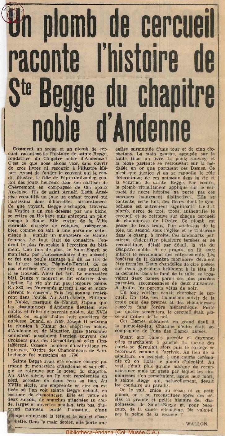 Un plomb de cercueil raconte l'histoire de Ste Begge du chapitre noble d'Andenne