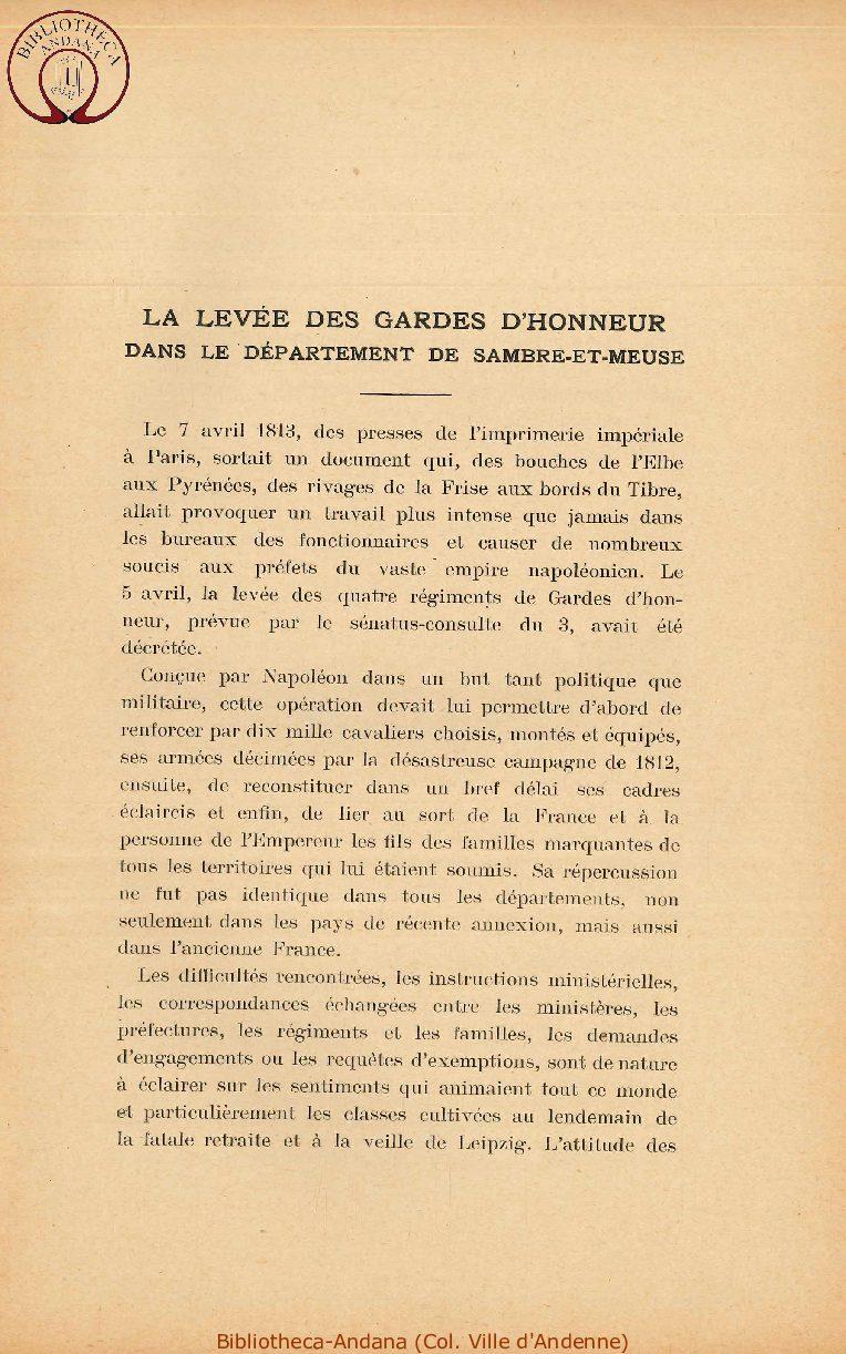 La levée des gardes d'honneur dans le département de Sambre et Meuse