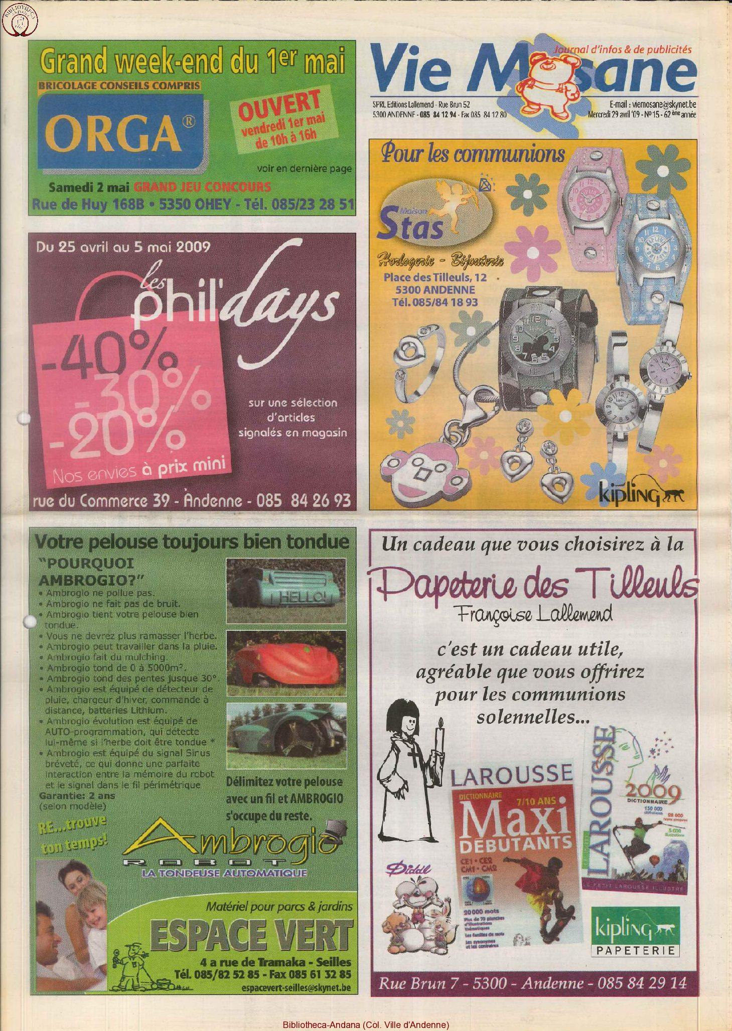 62e année - n°15 - 29 avril 2009
