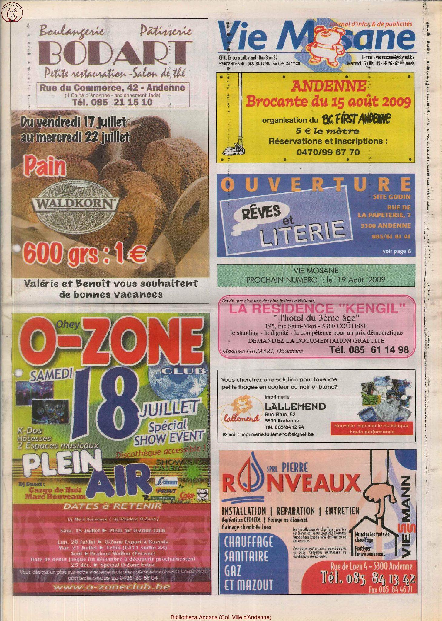 62e année - n°26 - 15 juillet 2009