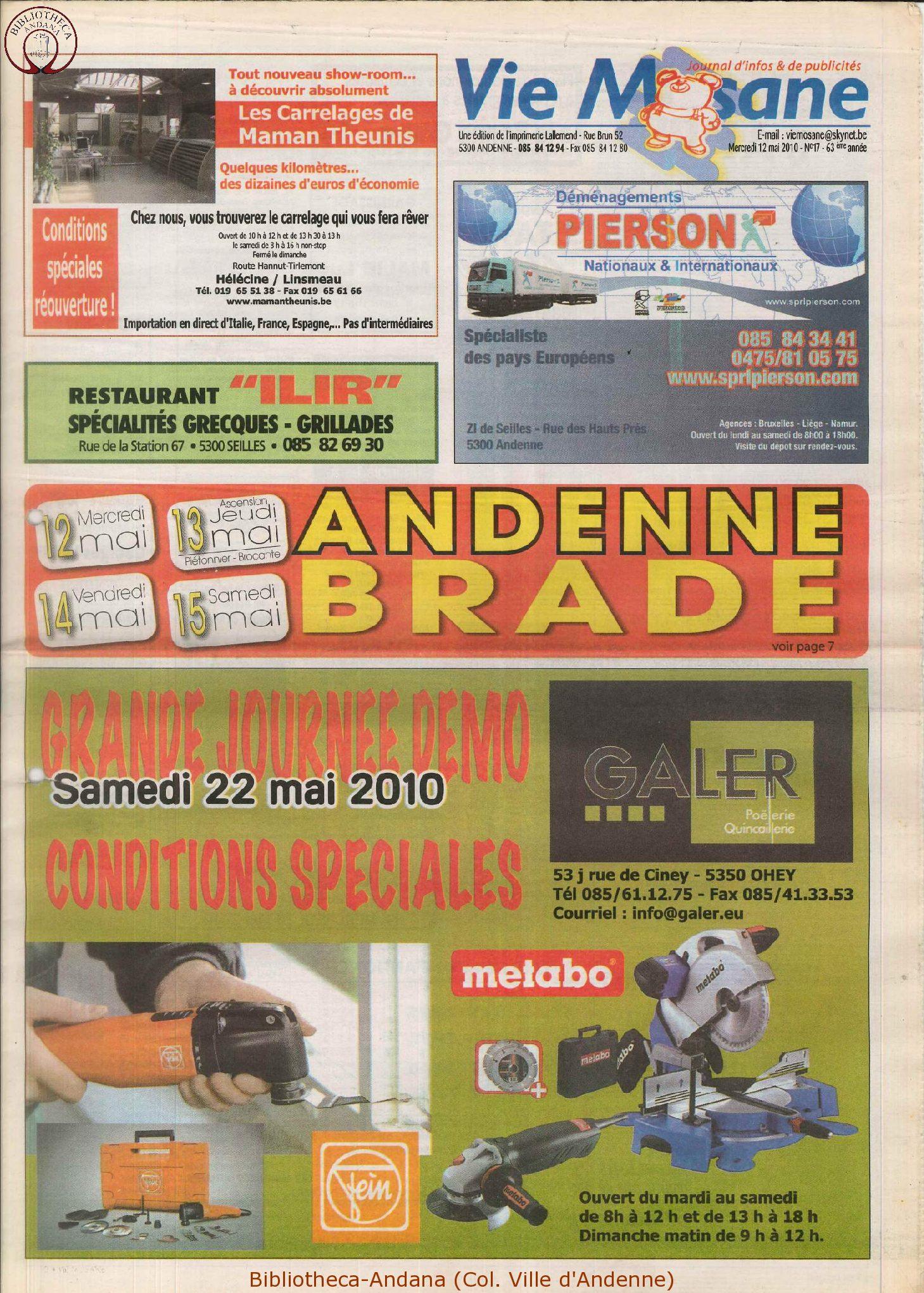 63e année - n°17 - 12 mai 2010