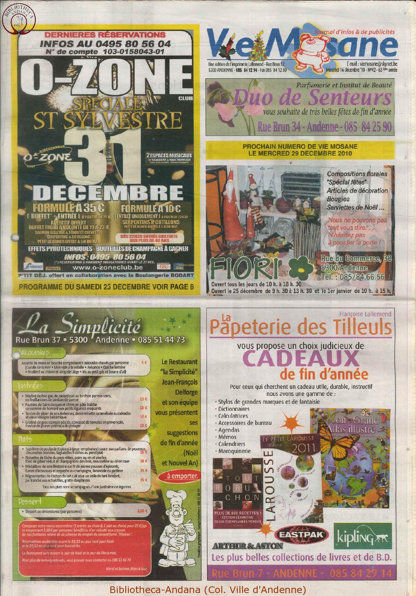 63e année - n°42 - 16 décembre 2010