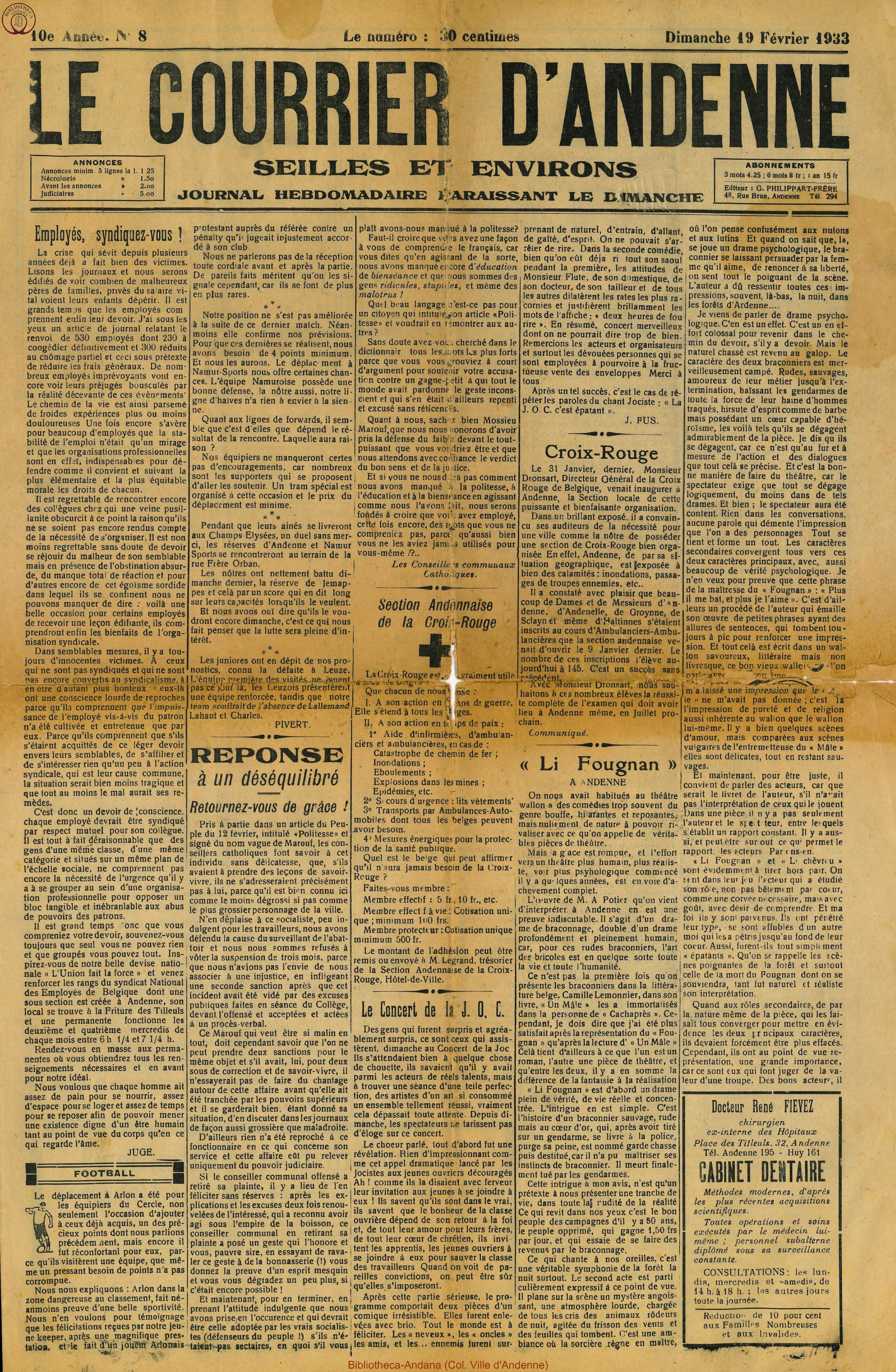 10e annee - n°8 - 19 février 1933